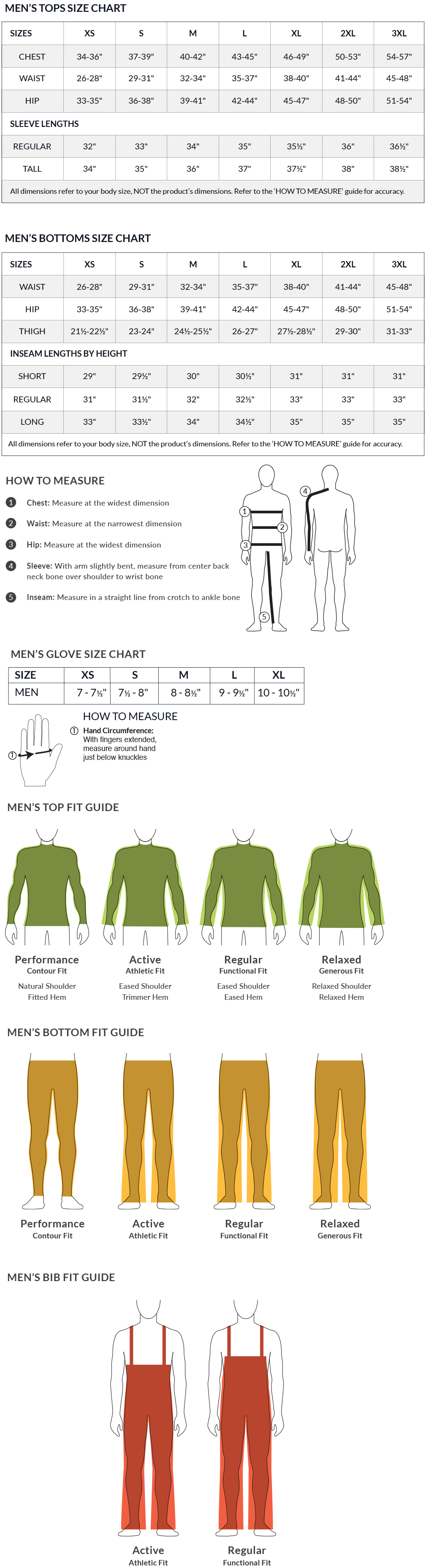 Men's Size Chart and Fit Guide