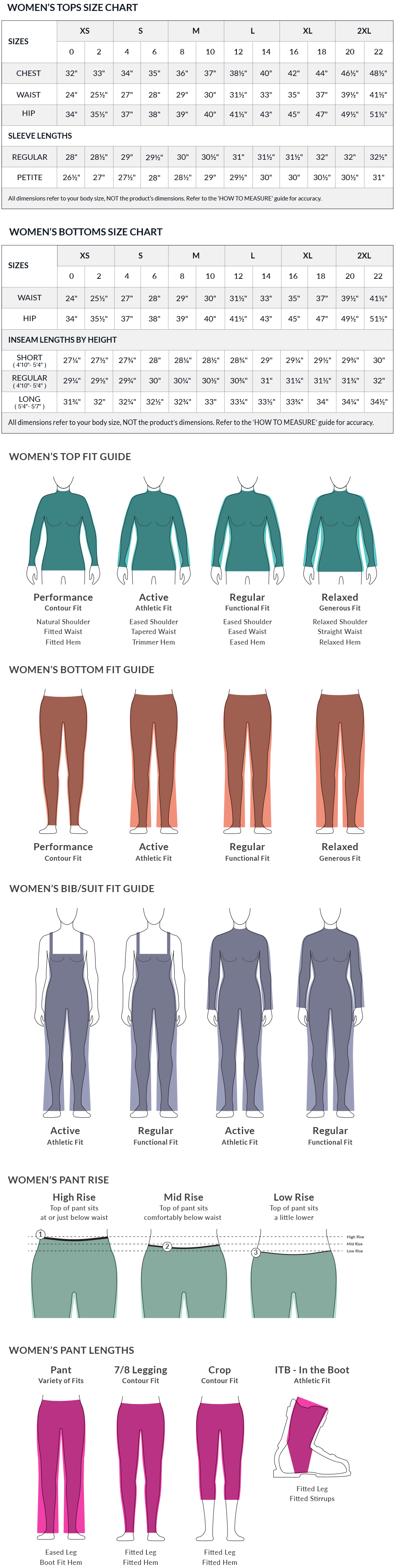 Women's Size Chart and Fit Guide