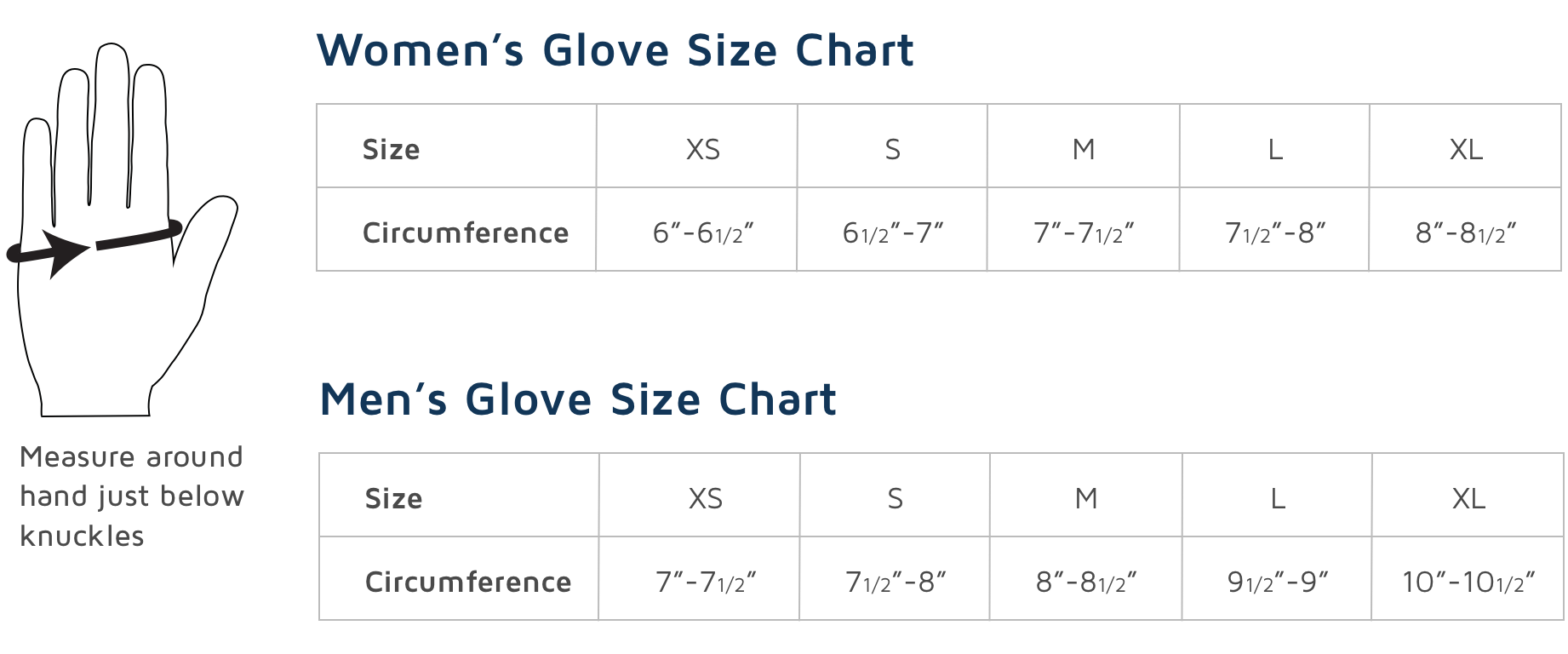 Adults Glove Sizing Chart Sport Obermeyer  Sport Obermeyer