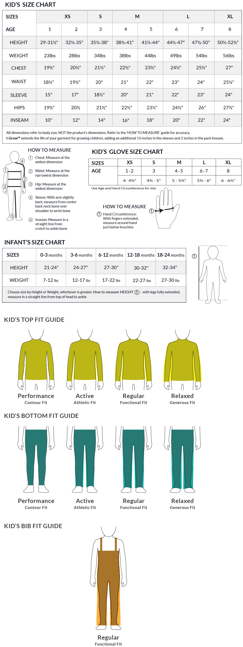 Obermeyer Kid's Size Charts and Fit Guide