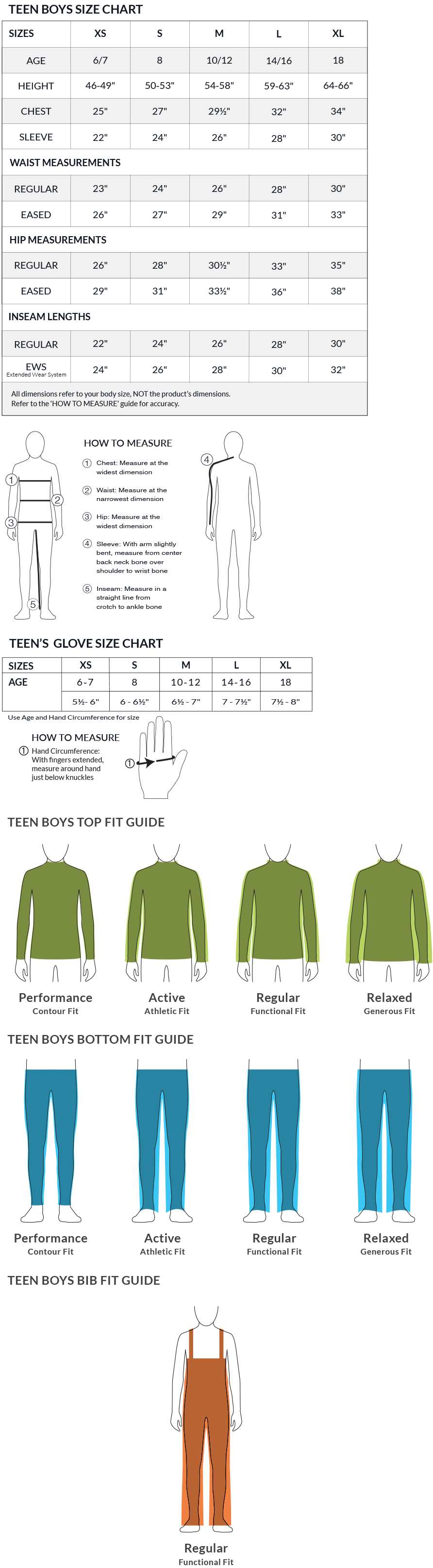 Obermeyer Teen Boys Size Chart and Fit Guide
