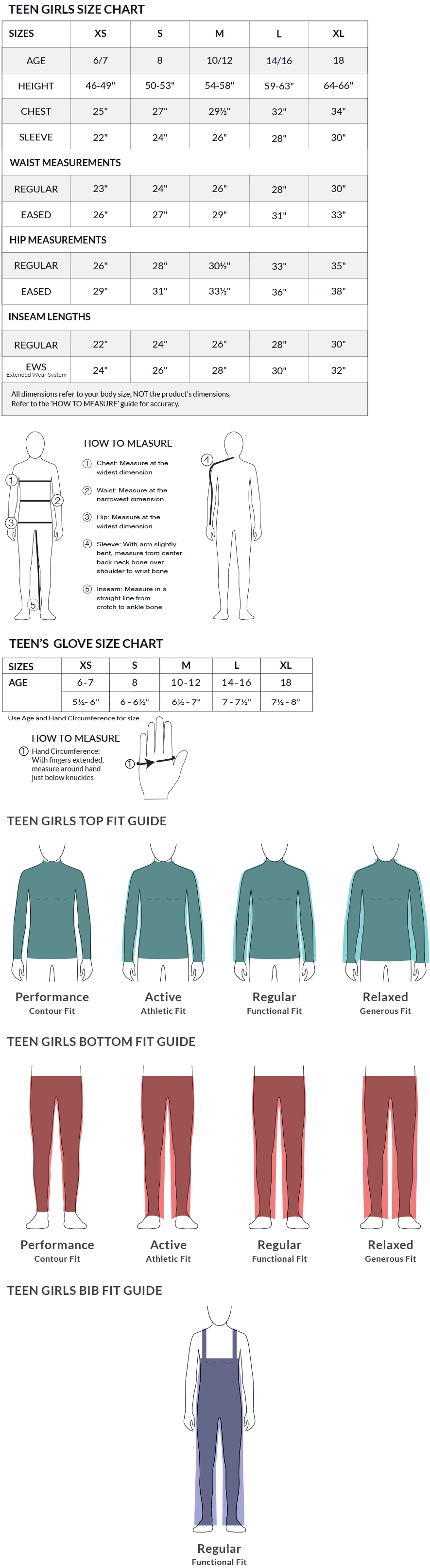 Obermeyer Teen Girl's Size Charts and Fit Guide