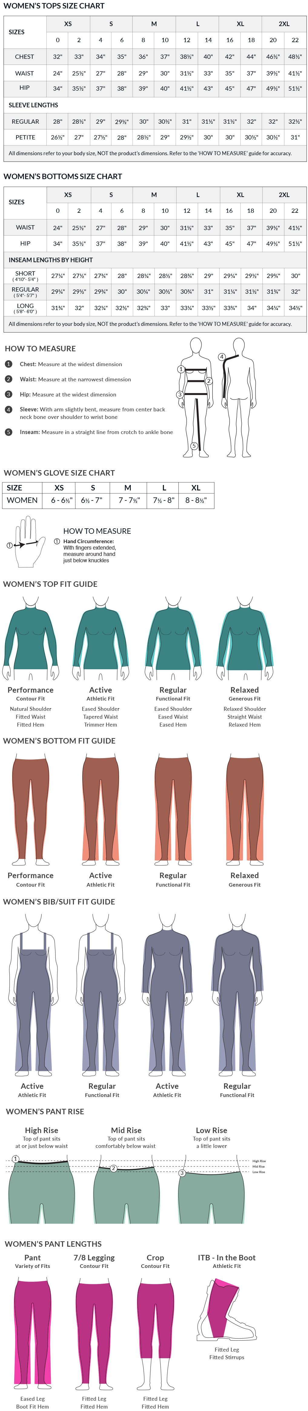 Obermeyer Women's Size Charts and Fit Guide