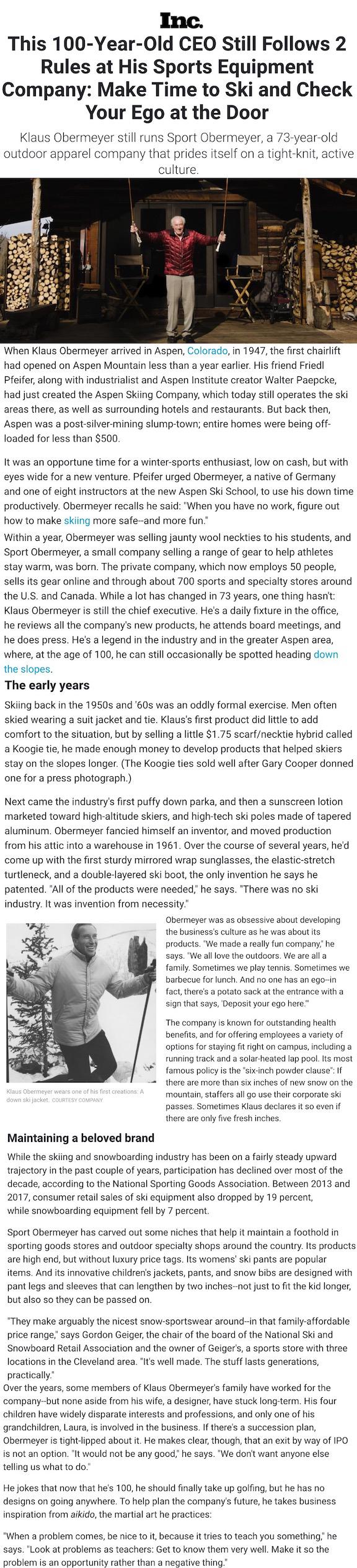 Inc Magazine Klaus Obermeyer story