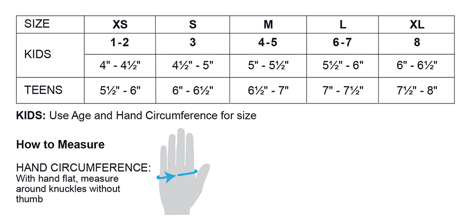 Teen and Kids Glove Sizing