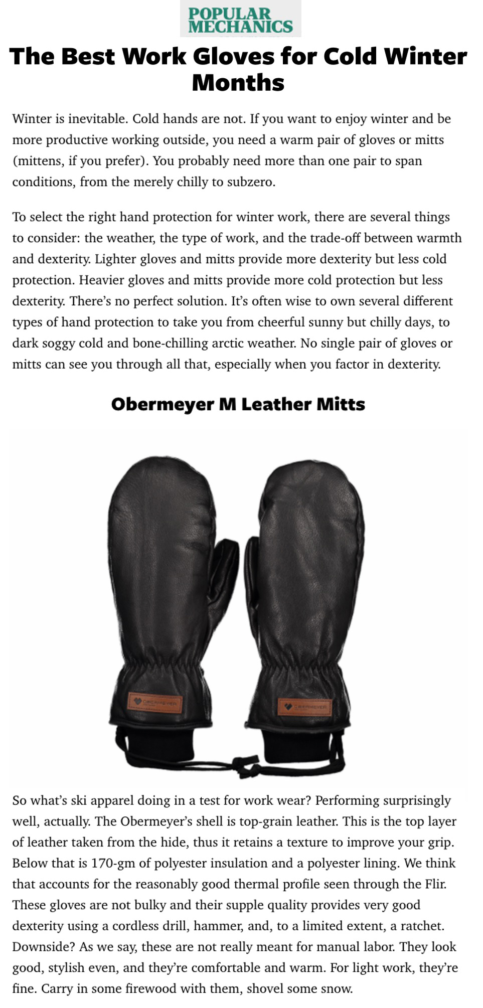 obermeyer leather mitten