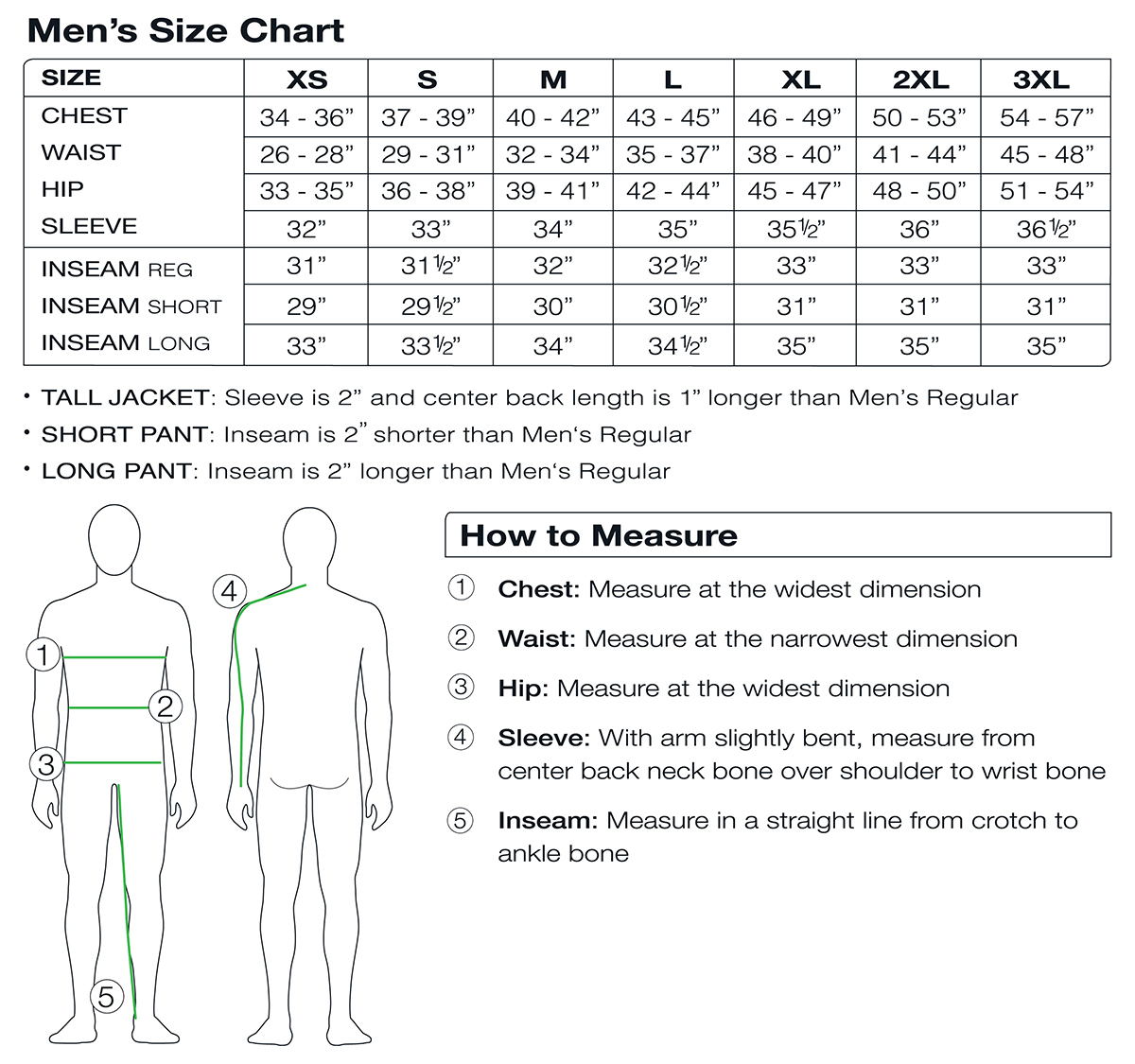 Obermeyer Men's Size Chart