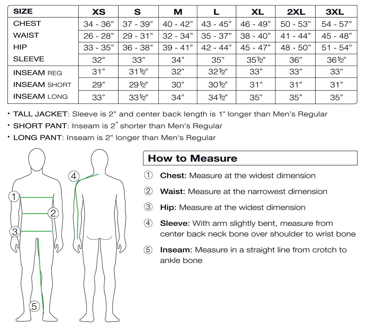 Obermeyer Men's Size Chart
