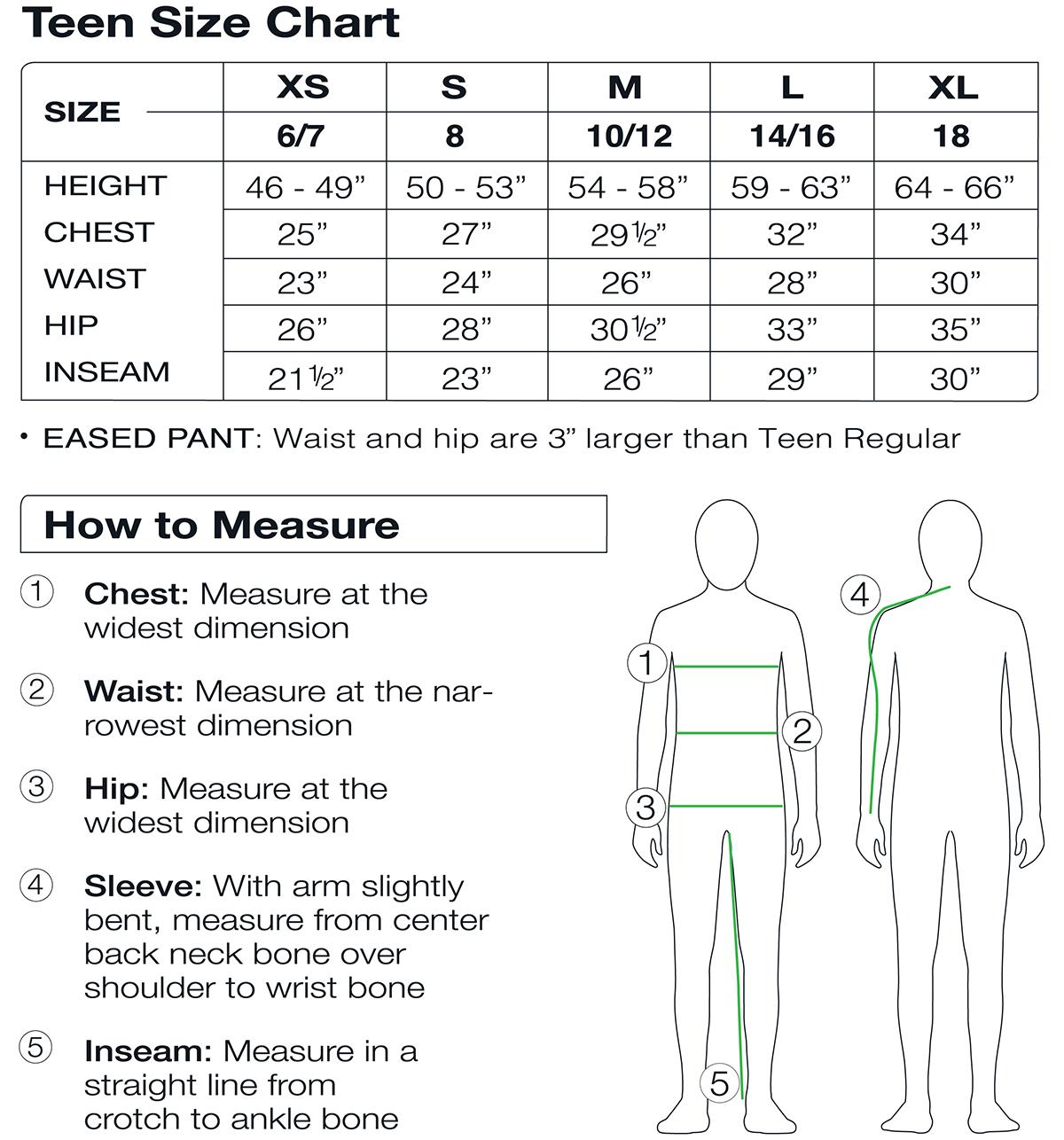 Obermeyer Teen Size Chart