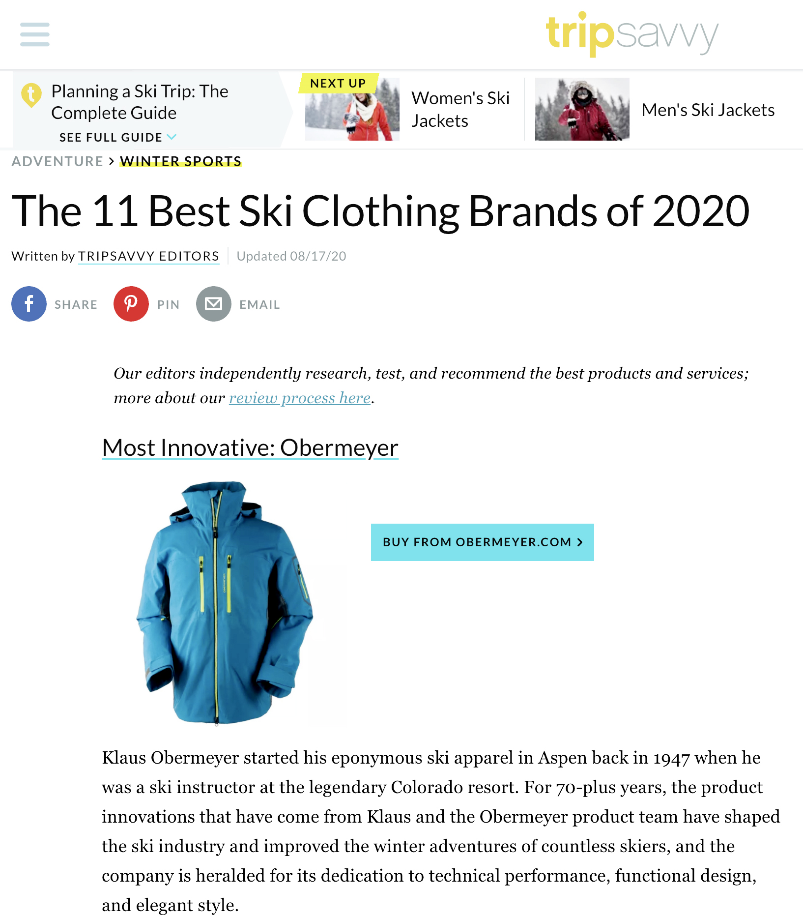 Obermeyer 2020 Most Innovative Brand