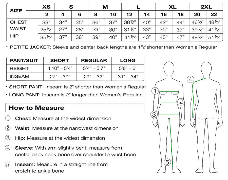 2018/19 Obermeyer women's size chart