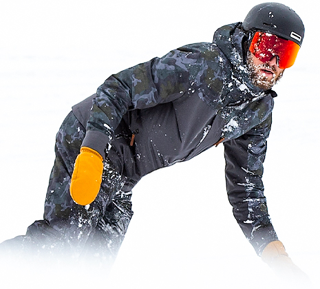 man snowboarding in black obermeyer jacket