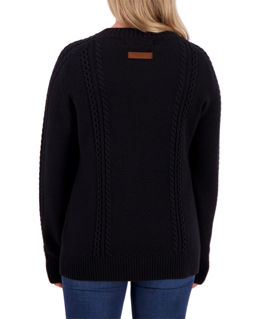 Tristan Cable Knit Sweater - Black, XS