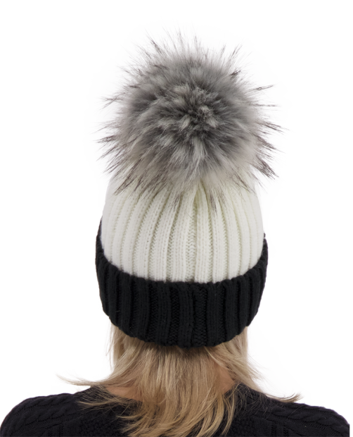 Denver Faux Fur Pom Hat - White, WOMEN