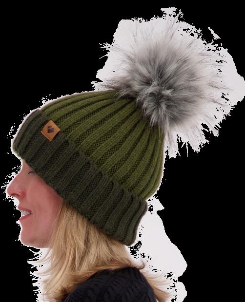 Denver Faux Fur Pom Hat - Military Time, WOMEN