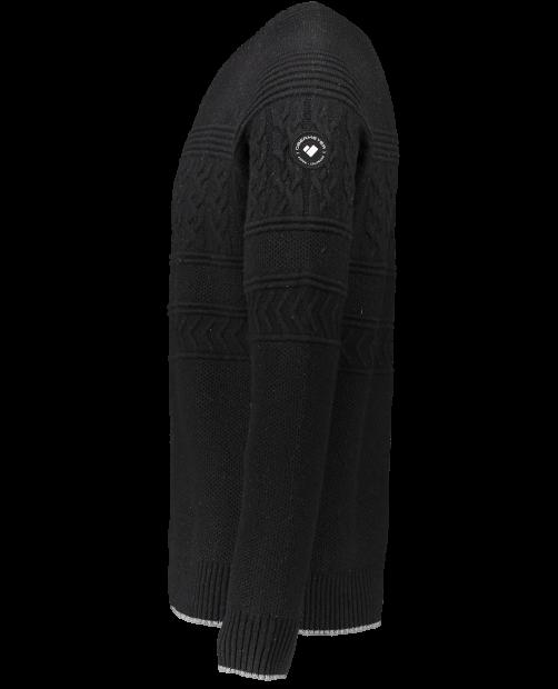 Textured Crewneck Sweater - Black, S